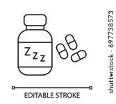 sleeping pills linear icon.... | Shutterstock .eps vector #697738573