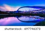 sunset of yangguang bridge  new ... | Shutterstock . vector #697746373