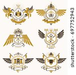 set of retro vintage insignias... | Shutterstock . vector #697752943
