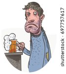 unhappy man drinking beer....   Shutterstock .eps vector #697757617