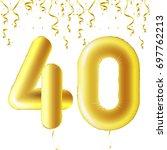 inflatable golden balls with... | Shutterstock .eps vector #697762213
