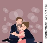 family hug care father mother... | Shutterstock .eps vector #697775743