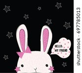 cute bunny illustration vector... | Shutterstock .eps vector #697785013
