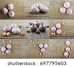 Small photo of Set of pungent garlic on wooden background.