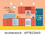kitchen with furniture. cozy... | Shutterstock . vector #697812643