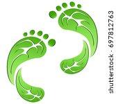 green leaf carbon eco footprints | Shutterstock .eps vector #697812763