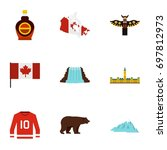 canada travel icon set. flat... | Shutterstock .eps vector #697812973