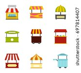 street food truck icon set.... | Shutterstock .eps vector #697814407