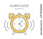 yellow alarm clock on a white... | Shutterstock .eps vector #697820683