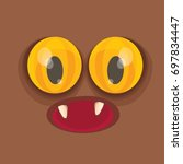 vector brown funny monster face.... | Shutterstock .eps vector #697834447