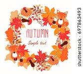 round frame of autumn leaves.... | Shutterstock .eps vector #697863493