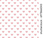 seamless striped pink hearts on ... | Shutterstock .eps vector #697866043
