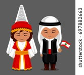 lebanese in national dress with ... | Shutterstock .eps vector #697882663