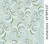 seamless damask pattern.... | Shutterstock .eps vector #697895137
