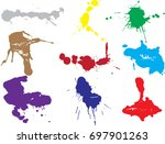 vector paint splatters.colorful ... | Shutterstock .eps vector #697901263