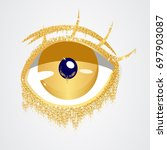 abstract gold eye.fashion eye... | Shutterstock .eps vector #697903087