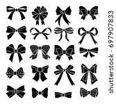 monochrome bows and ribbons set.... | Shutterstock . vector #697907833