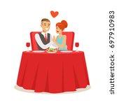 happy elegant couple enjoying... | Shutterstock .eps vector #697910983