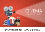 movie poster template. popcorn  ... | Shutterstock .eps vector #697914487