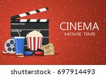 movie poster template. popcorn  ... | Shutterstock .eps vector #697914493