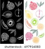 fruit drawn on the blackboard... | Shutterstock .eps vector #697916083