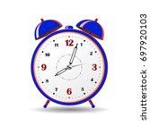 blue alarm clock  on white... | Shutterstock .eps vector #697920103