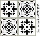 tiles seamless monochrome... | Shutterstock .eps vector #697929793