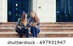 lovely girls smiling and... | Shutterstock . vector #697931947