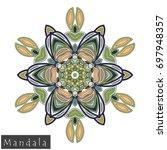 floral symmetrical geometrical... | Shutterstock .eps vector #697948357