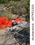 Small photo of Allotment recycling 1: Color photograph of allotment rubbish, in the north of Ibiza, Spain.