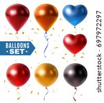set of glossy colorful balloons ... | Shutterstock .eps vector #697972297