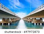long bridge cross over the big...   Shutterstock . vector #697972873