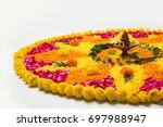 flower rangoli for diwali or... | Shutterstock . vector #697988947