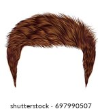 trendy man hairs. red color.... | Shutterstock .eps vector #697990507