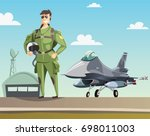 military pilot and jet fighter... | Shutterstock .eps vector #698011003