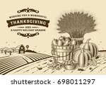 vintage thanksgiving landscape... | Shutterstock . vector #698011297