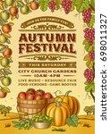 vintage autumn festival poster | Shutterstock . vector #698011327