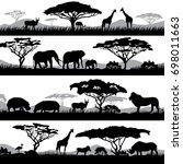wild african life. background... | Shutterstock . vector #698011663
