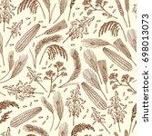 seamless pattern of organic...   Shutterstock . vector #698013073