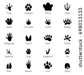 black footprints shapes of... | Shutterstock . vector #698013133
