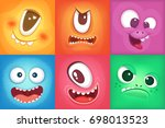 monster cartoon faces. demon... | Shutterstock . vector #698013523