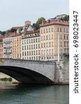 Small photo of Vieux-Lyon, colorful houses and Bonaparte bridge in the center, on the river Saone