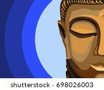 half of a buddha's face in...   Shutterstock .eps vector #698026003