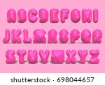 alphabet pink lettering  3d... | Shutterstock . vector #698044657