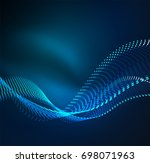 wave particles background   3d ... | Shutterstock . vector #698071963