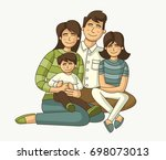 colorful happy people. cartoon... | Shutterstock .eps vector #698073013