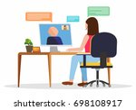 video conference. businesswoman ... | Shutterstock .eps vector #698108917