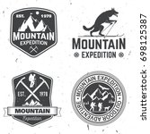 set of mountain expedition... | Shutterstock .eps vector #698125387