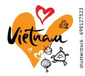 travel to vietnam  and iconic... | Shutterstock .eps vector #698127523