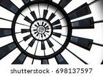 piano keyboard printed music... | Shutterstock . vector #698137597
